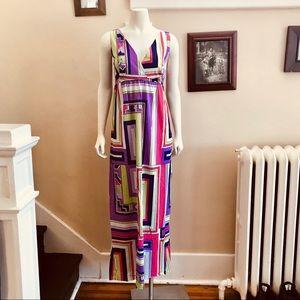 Vintage Mod abstract color block maxi dress.sz M